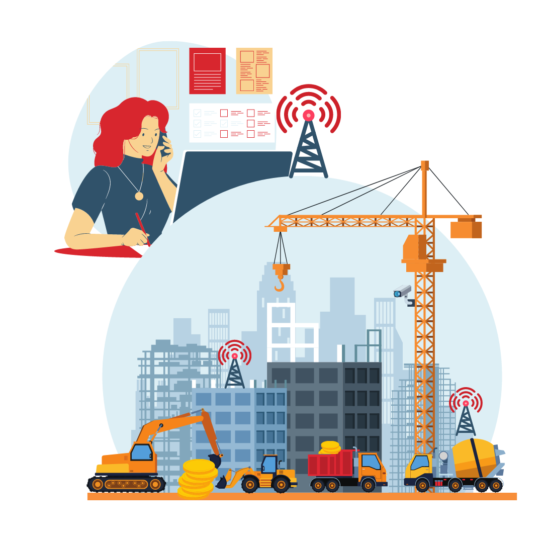 A graphic depicting two bubbles, the top bubble contains a woman with red hair on the phone and a cell tower in the corner, the bottom bubble depicts a construction site with a crane